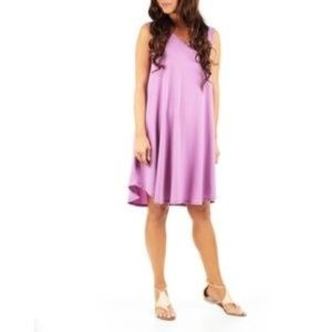 Lavender V-Neck Dress Tunic Stretch Pockets New XL